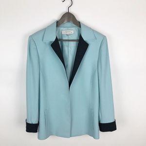 Tahari Arthur Levine Blue Open Front Jacket Sz 12
